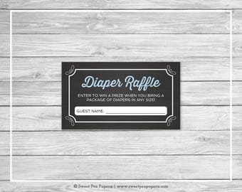 Chalkboard Baby Shower Diaper Raffle Insert - Printable Baby Shower Diaper Raffle Cards - Blue Chalkboard Baby Shower - Diaper Cards - SP156