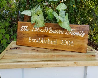 Rustic Timber family established sign - custom made to order