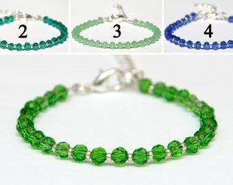 Green bracelet Beaded bracelet bohemian crystals bracelet Delicate bracelet Statement bracelet Gift for wife gift for her womens gift ideas