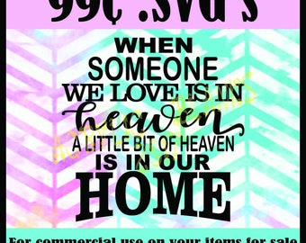 When someone we love is in heaven a little bit of heaven is in our home SVG, cutter clipart, sihouette, cricut digital download, wall art