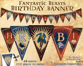 Fantastic Beasts Birthday Banner, party banner, Niffler, Newt Scamander, Harry Potter party, Harry potter banner, printable, party supplies