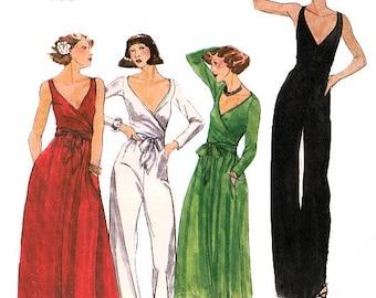 Vtg 70s Designer Jumpsuit Pattern Butterick 4845 Size 10 Uncut Wrapped Bodice Sleeveless John Kloss