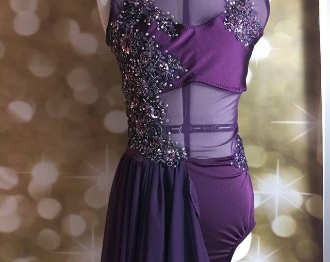 Custom dance costume with swarovski stones, custom Lyrical dance costume, contemporary dance costume ,lyrical Dance Costume