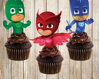 6 PJ masks cupcake toppers, PJ Masks Cake toppers, PJ Maks cupcake picks, download instant