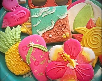 Beachy Summer Fun Cookies, flip flop cookies, pineapple cookies