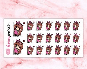 15% OFF A421 | Peeking stickers, Shy Keenachi Emoticon Repositionable Stickers Perfect for Erin Condren Life Planner, Filofax, Plum Paper