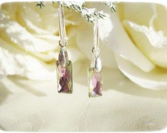 Swarowsky Crystal Earrings, Sterling Silver Leverback Earrings