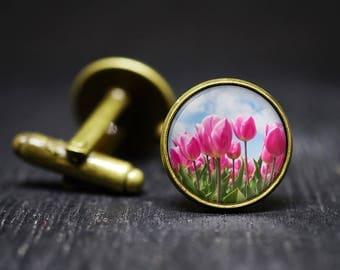 Tulip Cuff Links, Pink Flower Cuff Links, Nature Cuff Links, Flower Cuff Links