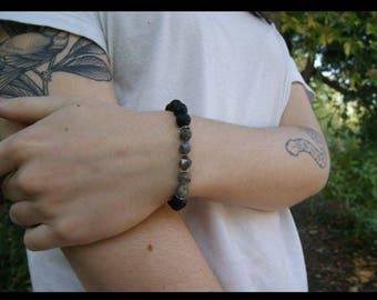 Geometric Labradorite and lava stone diffuser healing bracelet 8mm