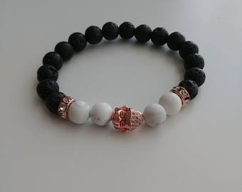 Rose gold colour pave Buddha charm. Howlite and Lava stone diffuser healing bracelet, 8mm