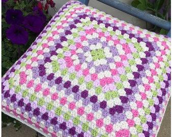 Crochet Pillow Cushion,Crochet Pillow,,Granny Square Crochet Cushion Pillow,Cover,Crochet Pillow,Pillow, Decorative Pillow,Ready to Ship.
