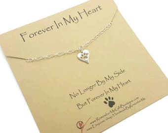 Pet Memorial, Pet Loss Gift Idea, Pet Memorial Jewelry, Loss of Pet, Forever In My Heart, Gift for Dog Loss, Sterling Silver Dainty Keepsake