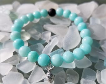 Amazonite Pineapple and Lava Essential oil bracelet - Lava beads - Healing stone beads - Amazonite - Aromatherapy - Diffuser