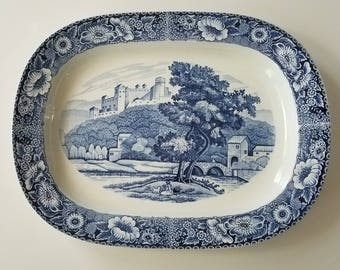 Beautiful blue and white platter // decorative platter // Made in Japan // vintage platter // transferware