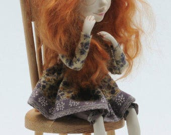 Mrs. Gina Red ,Art Doll , Handmade and Unique Doll, Inerior Art Doll, Paperclay Art Doll, Red Hier Doll, OOAK Doll, Sculpted Art Doll
