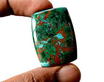 Chrysocolla Large 76 Cts AAA Quality Natural Gemstone Attractive Designer Rectangle Shape Cabochon 35x25x7 MM R14132