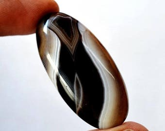 80% Sale Black Banded Agate 51 Cts Natural Gemstone Oval Shape Loose Cabochon 43x21x7 MM AC2801