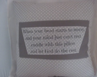 religious gifts, anxiety relief, stress relief, polka dot fabric pillow, words on pillows, decorative word pillow