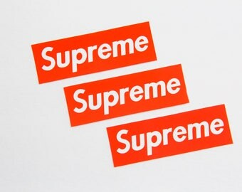 3 Supreme Stickers - 1.25 x 3.5 inches Each - Cool Vinyl Sticker Collection - For Skateboard Laptop Bike etc