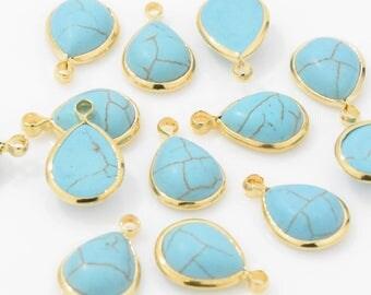 Teardrop Turquoise Pendant . Turquoise Charm . Turquoise Gemstone . Wedding Jewelry . 16K Polished Gold Plated over Brass - 2pcs / NBW001-PG