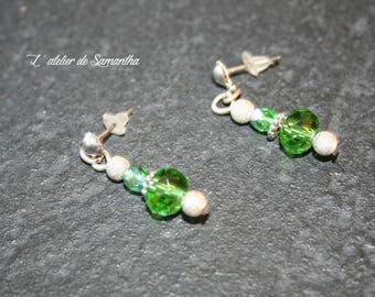 earrings with green Crystal beads