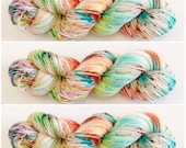 DK wieght. HandDrawn Swirl.Light worsted. Hand Dyed Yarn. Hand painted Speckled Yarn 75/25 wool/nylon 100g.