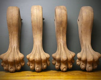 Set of 4 Oak Claw Foot Paw Wood Wooden lion Dragon Bear Table Hand Carved legs Feet Antique Base Primitive Industrial Architectural Salvage