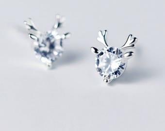 Pretty 925 Sterling Silver Reindeer Antlers White Rhinestones Christmas Earrings