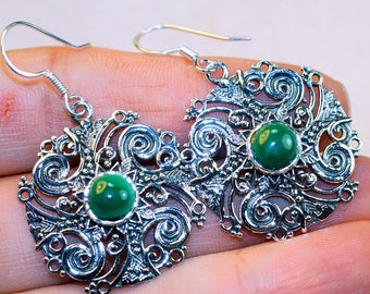 Stunning Malachite set in Solid 925 Sterling Silver Earrings