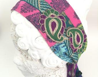 Headband, Boho headband, bohemian, bold colored headband, sari silk headband