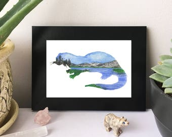 Yellowstone River, Wyoming River Otter - Original Watercolor Painting - PRINT - 4x6 - Landscape - National Park - Forest - Mountains