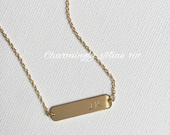 14k Gold filled necklace. Initial necklace. Gold filled personalized necklace. Bridesmaid necklace. Personalized gift. Hand stamped necklace