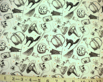 1 YD - Eat, Drink, & Be Scary Fabric (witches brew) by Windham Fabrics