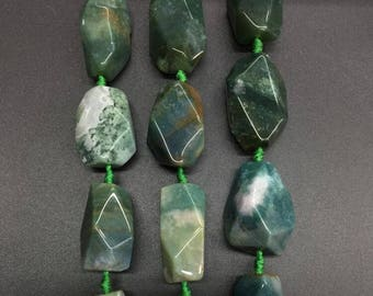 Large Natural Indian agate Freeform Faceted nuggets,Raw Green agate slice chunk pendant necklaces Jewelry Crafts,12pcs
