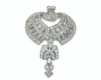 Heart Shaped Clear Rhinestone Dangle Brooch Pin In Silver Tone, Bridal Jewelry