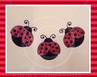 Ladybird Ladybug glitter window cling set for glass & mirror surfaces, 3 reusable ladybugs  decals, faux stained glassed static cling decal