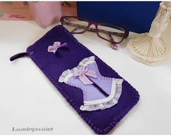 Case clutch for sunglasses, glasses, felt, purple Corset pattern, romantic, glamorous gift, handmade gift for her, Christmas,