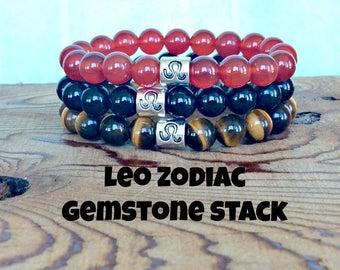 Leo Zodiac Bracelet Stack, Leo Jewelry, Horoscope Jewelry, Astrology Bracelet, Tiger Eye, Black Onyx, Carnelian, August Birthday Gift