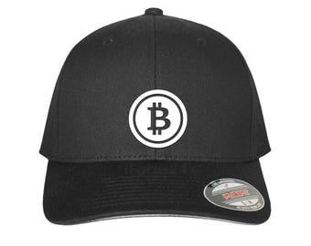 BITCOIN P2P block chain mining Flex Fit Hat ROUND Bill