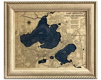 Lake Mendota + Lake Monona Dimensional Wood Carved Depth Contour Map - Customize With Your Home Information