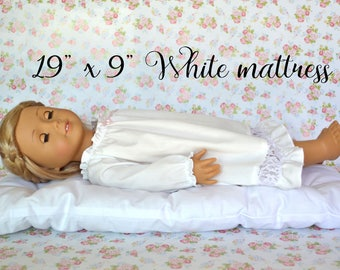 "19"" x 9"" White Doll Mattress, Pillow"