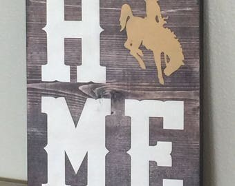 Home Wyoming Bucking Horse wooden home decor, Steamboat