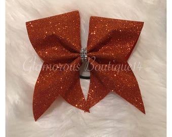 Glitter Orange Cheer Bow