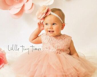 Lace baby dress,V back dress,First birthday dresses,blush pink rose flower girl dress,open back dress,Toddler pageant dress, Gold sequin bow