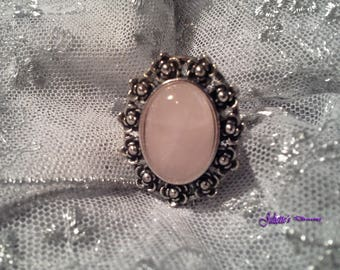 Pink soft ring - Rose Quartz and silver
