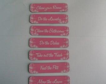 Pink Chore Magnets, Chore Labels for Boards or Fridge Magnets, 7 Chores Magnet Set