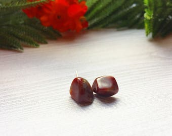 Red Agate Stud Earrings >> Natural Stones on Sterling Silver Posts >> Nature Valentine's Day Gift For Her >> Unique Nevada Gemstone Jewelry