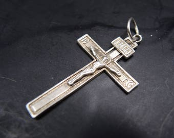 Vintage Orthodox Sterling Silver Cross Jesus Christ Crucifix Save and Protect Big Silver Cross