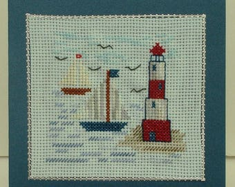 Card ships, sea, embroidery handmade, all occasions