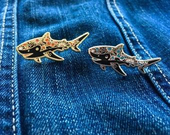 Shark Gold and Silver Enamel Pins